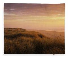 Sunset Light Bathes Umpqua Beach Fleece Blanket