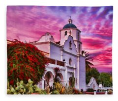 Sunset Mission San Luis Rey De Francia By Diana Sainz Fleece Blanket