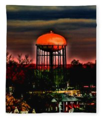 Sunset On A Charlotte Water Tower By Diana Sainz Fleece Blanket