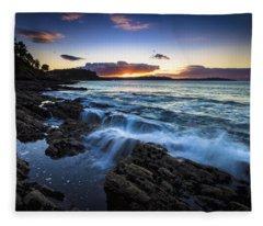 Sunset On Ber Beach Galicia Spain Fleece Blanket