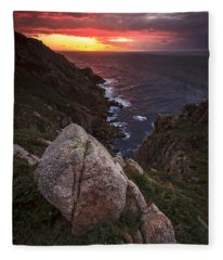 Sunset On Cape Prior Galicia Spain Fleece Blanket