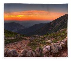 Sunset On Franconia Ridge Fleece Blanket