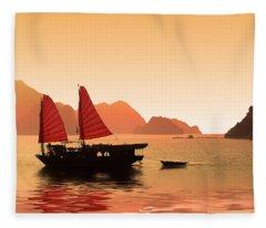 Sunset On Halong Bay Fleece Blanket