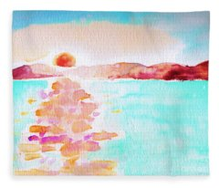 Sunset On The Bay Fleece Blanket