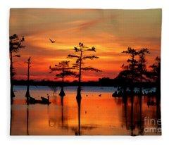 Sunset On The Bayou Fleece Blanket