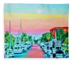Sunset On The Canal Fleece Blanket
