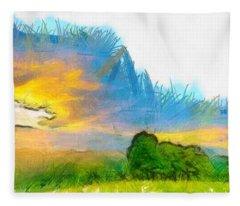 Sunset On The Farm Pencil Fleece Blanket