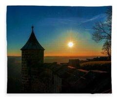 Sunset On The Fortress Koenigstein Fleece Blanket
