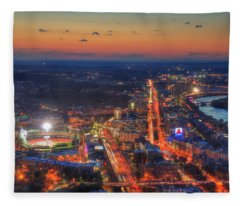 Sunset Over Fenway Park And The Citgo Sign Fleece Blanket