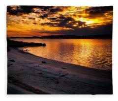 Sunset Over Little Assawoman Bay Fleece Blanket