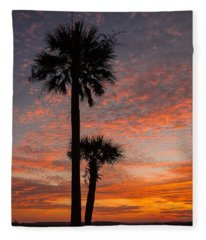 Sunset Over Marsh Fleece Blanket