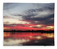 Sunset Over Mission Bay  Fleece Blanket
