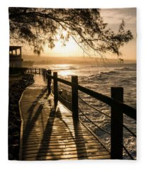Sunset Over Ocean Walkway Fleece Blanket