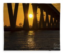 Sunset Over Sanibel Island Photo Fleece Blanket