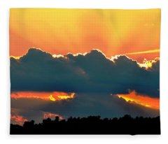 Sunset Over Southern Ohio Fleece Blanket