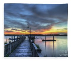 Sunset Over The River Fleece Blanket