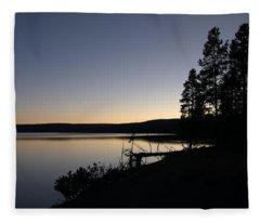 Sunset Over Yellowstone Lake Fleece Blanket