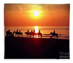Sunset Past Time Fleece Blanket
