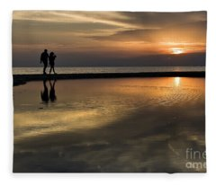 Sunset Reflection And Silhouettes Fleece Blanket