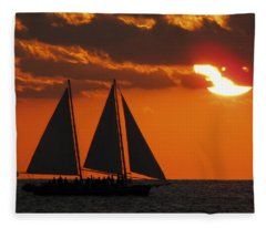 Key West Sunset Sail 3 Fleece Blanket