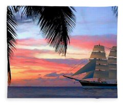 Sunset Sailboat Filtered Fleece Blanket