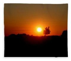 Sunset Silhouette Fleece Blanket
