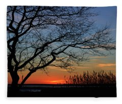 Sunset Tree In Ocean City Md Fleece Blanket