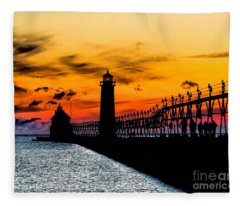 Sunset Walking On Grand Haven Pier Fleece Blanket