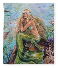 Sunshine Mermaid Square Fleece Blanket