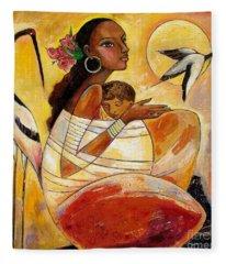 Sunshine Mother And Child Fleece Blanket