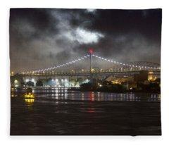 Super Moon And Triboro Bridge Fleece Blanket
