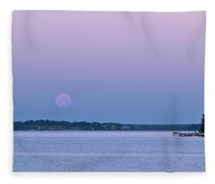 Super Moon Setting-1 Fleece Blanket
