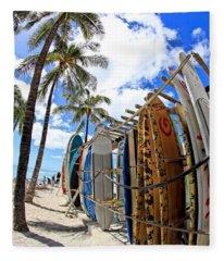 Surf And Sun Waikiki Fleece Blanket
