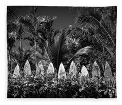 Surf Board Fence Maui Hawaii Black And White Fleece Blanket