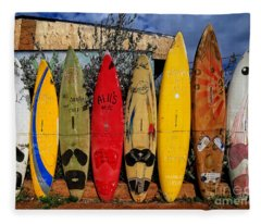 Surf Board Fence Maui Hawaii Fleece Blanket