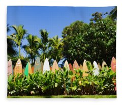 Surfboard Fence - Left Side Fleece Blanket