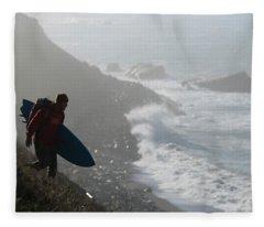 Surfer Carrying Board Walking Fleece Blanket