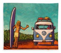 Surfer Girl And Vw Bus Fleece Blanket