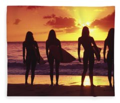 Surfer Girl Silhouettes Fleece Blanket