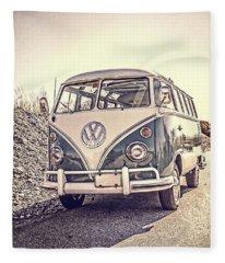 Surfer's Vintage Vw Samba Bus At The Beach Fleece Blanket
