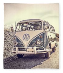 Fleece Blanket featuring the photograph Surfer's Vintage Vw Samba Bus At The Beach by Edward Fielding