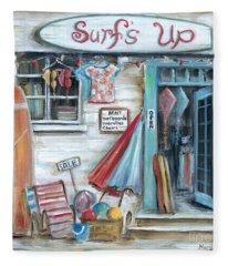 Surfs Up Beach Shop Fleece Blanket