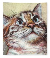 Surprised Kitty Fleece Blanket