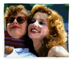 Susan Sarandon And Geena Davies Alias Thelma And Louis - Watercolor Fleece Blanket