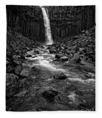 Svartifoss Waterfall In Black And White Fleece Blanket