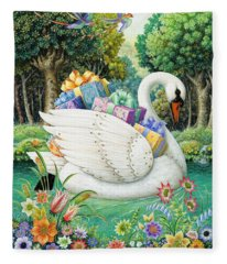 Swan Boat Fleece Blanket