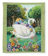Swan Boat Fleece Blanket