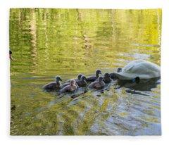Swan Family Fleece Blanket