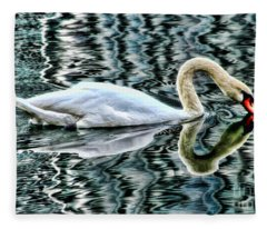 Swan On Lake Eola By Diana Sainz Fleece Blanket