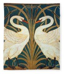 Swan Rush And Iris Fleece Blanket